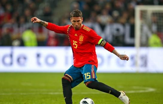 Sergio Ramos évoluant sous les couleurs de l'Espagne