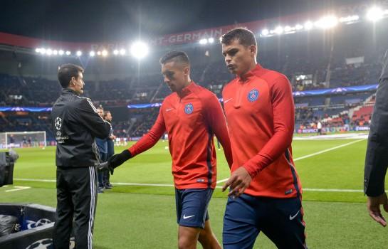 Thiago Silva et Marquinhos, lors d'un match du PSG.