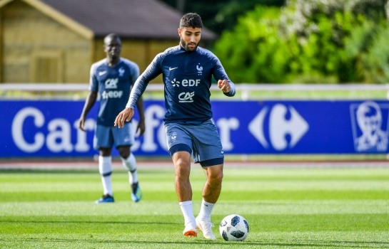 Nabil Fekir en demi-finale du Mondial 2018 avec l'Équipe de France contre la Belgique.