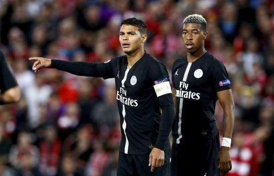 Thiago Silva et Presnel Kimpembe lors de Liverpool-PSG.