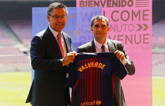 Josep Bartomeu et Ernesto Valverde au Barça.