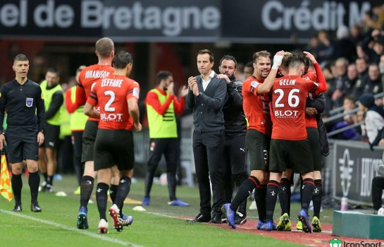 Julien Stéphan et quelques joueurs de Rennes.