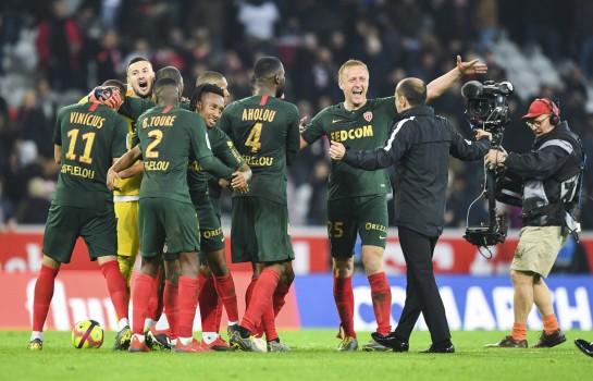 La joie de l'AS Monaco après son succès à Lille.