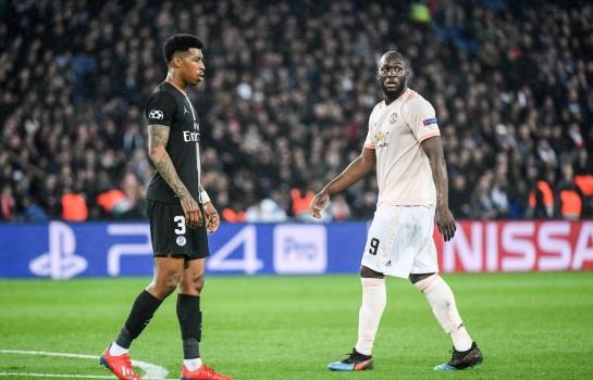 Romelu Lukaku et Presnel Kimpembe lors de PSG-Man United.