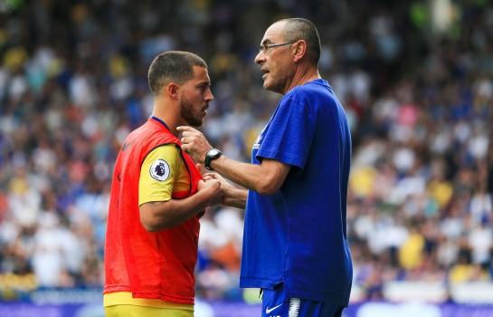 Eden Hazard et Maurizio Sarri à Chelsea.