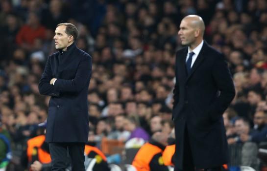 Thomas Tuchel et Zinédine Zidane, entraîneurs du PSG et du Real Madrid.
