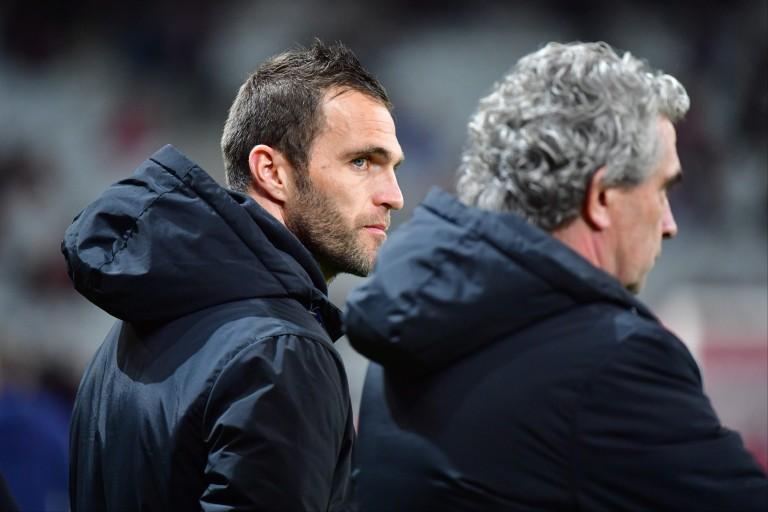 Le coach de l'ASSE, Julien Sablé et le dirigeant Dominique Rocheteau