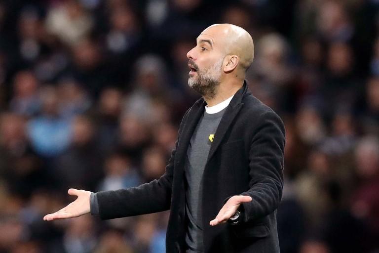 Pep Guardiola  lors d'un match de manchester City