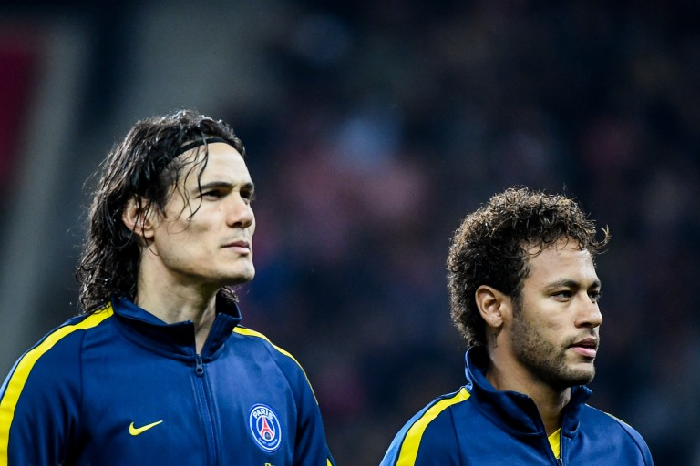 Edinson Cavani et son coéquipier Neymar du PSG.