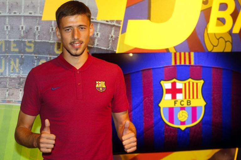 Clément Lenglet lors de sa présentation au FC Barcelone.