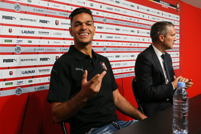 Hatem Ben Arfa iconsport en tribune, rennes démarche fort