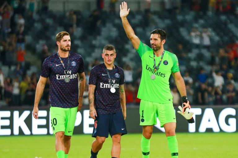 Marco Verratti entre Gianluigi Buffon et Kevin Trapp.