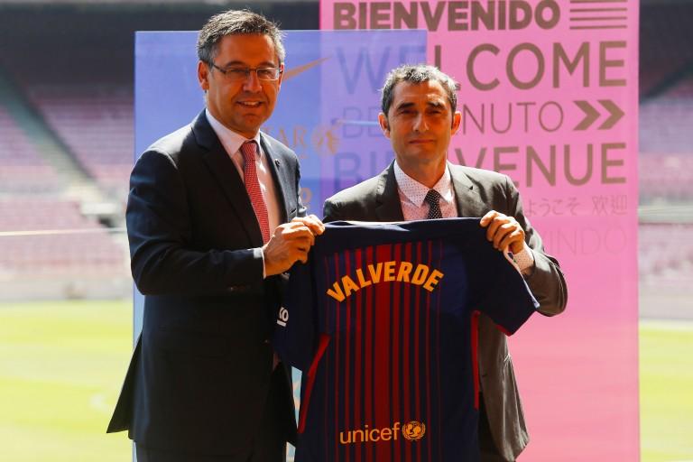 Josep Bartomeu présentait Ernesto Valverde au FC Barcelone