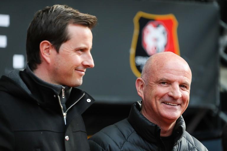 Julien Stéphan à gauche, entraîneur du Stade rennais.