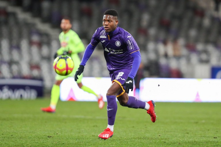 Aaron Leya Iseka, attaquant au Toulouse FC.
