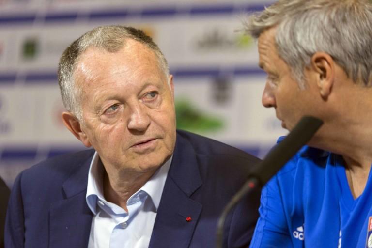 Jean-Michel Aulas, président de l' OL et Bruno Genesio, ex-coach.