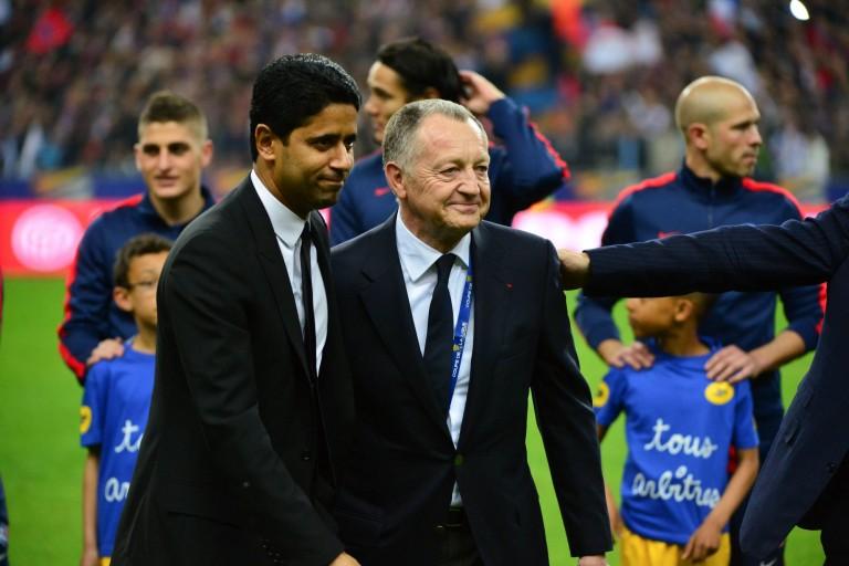 Nasser Al-Khelaïfi, président du PSG, et son homologue de l' OL, Jean-Michel Aulas.