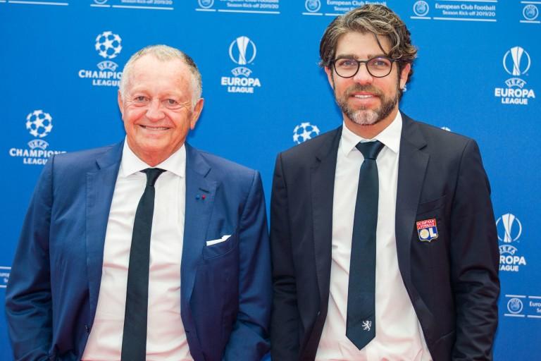 Jean-Michel Aulas, président de l' OL, et son directeur sportif Juninho.