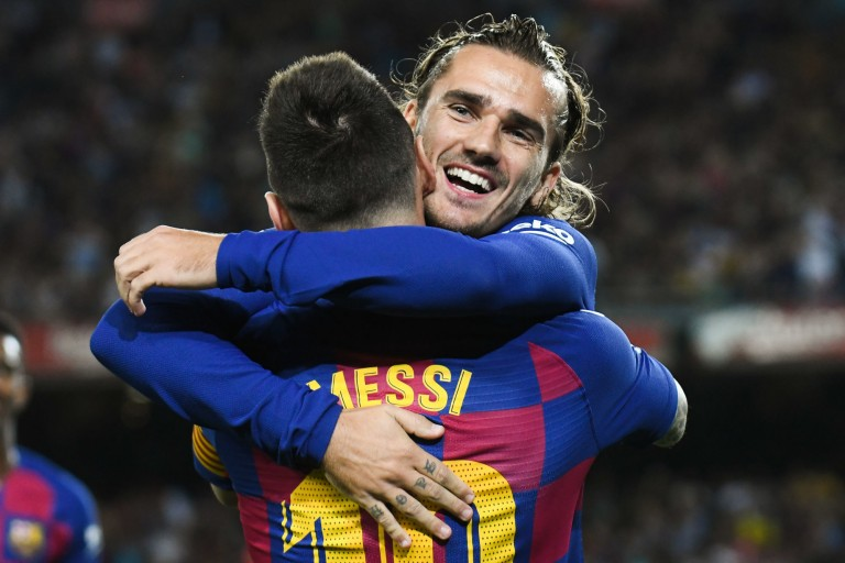 Antoine Griezmann et Lionel Messi ont marqué 4 des 5 buts du Barça samedi