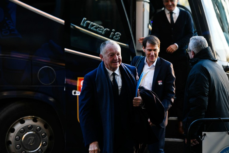 Jean-Michel Aulas président de l' OL et son coach Rudi Garcia.
