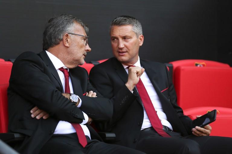 Jacques Delanoë et Olivier Létang lors d'un match du Stade Rennais.