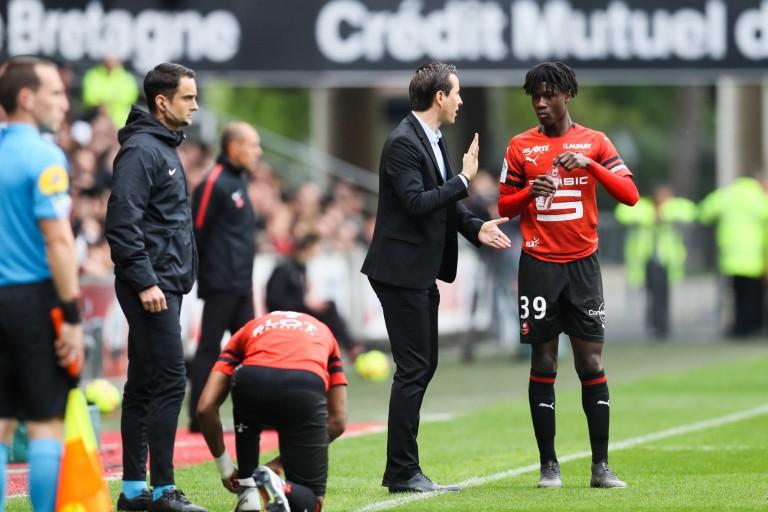 Julien Stéphan et Eduardo Camavinga lors d'une rencontre du Stade Renais