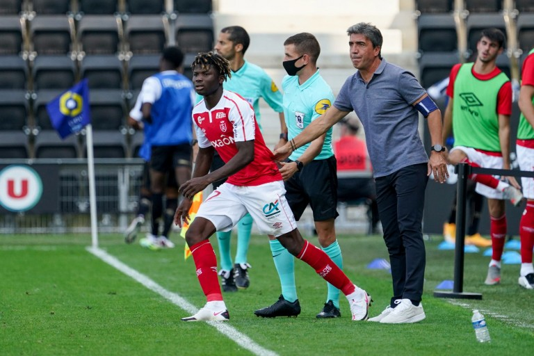 El Bilal Touré et l'entraineur du Stade de Reims David Guion