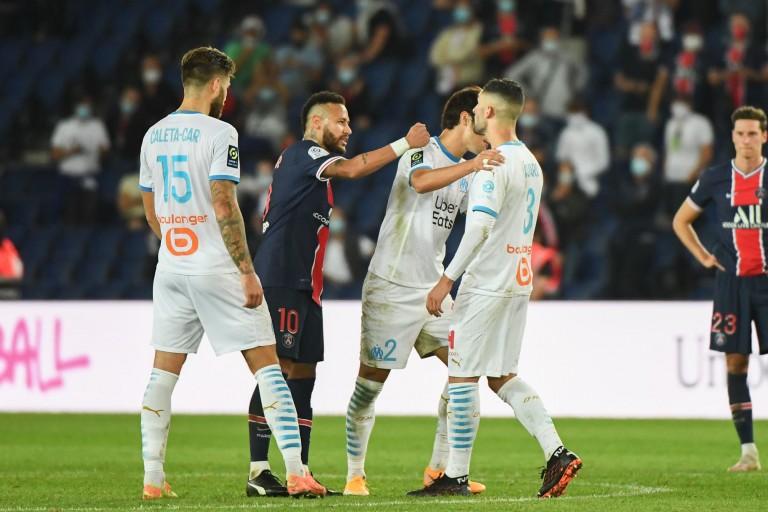 Neymar répliquant à Alvaro Gonzalez, lors du classico PSG - OM