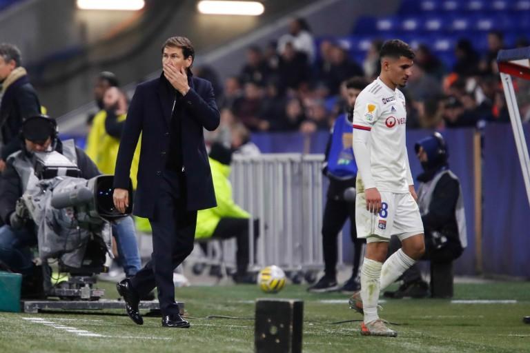 Rudi Garcia (coach de l'OL) et Houssem Aouar
