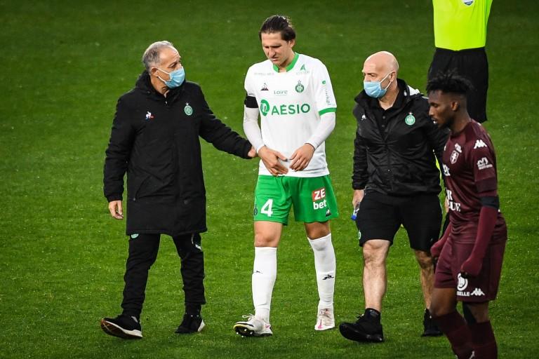 Panagiotis Retsos touché lors de FC Metz - ASSE