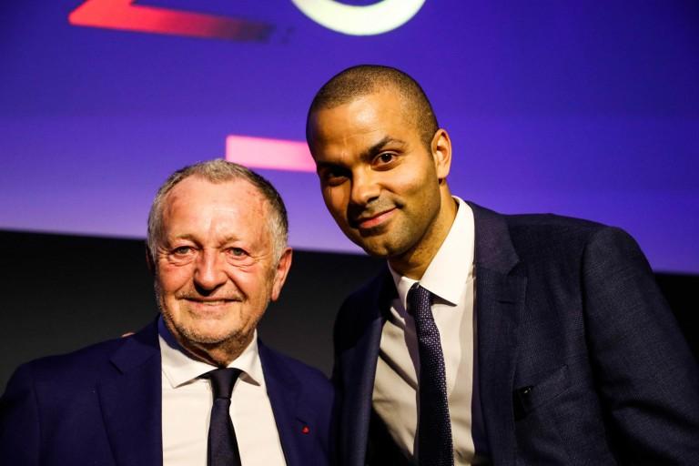 Jean-Michel Aulas, président de l'OL et Tony Parker.
