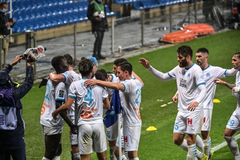 L'OM célébrant un but contre le Montpellier HSC (3-3)
