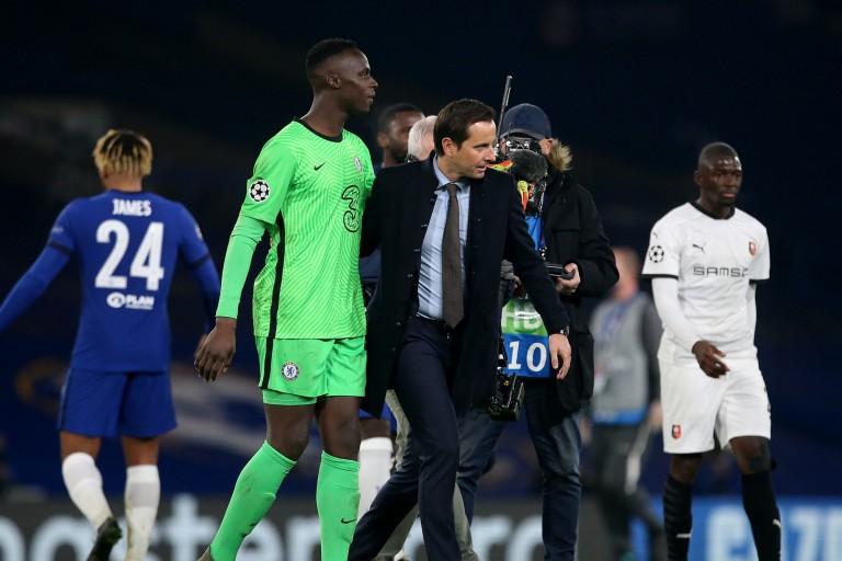 Edouard Mendy et Julien Stéphan lors de Chelsea - Stade Rennais en LdC