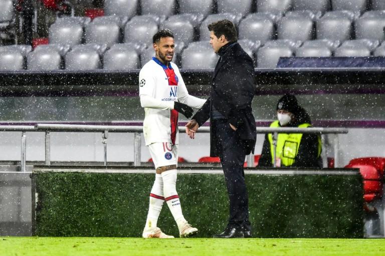 Mauricio Pochettino et Neymar lors de Bayern - PSG.