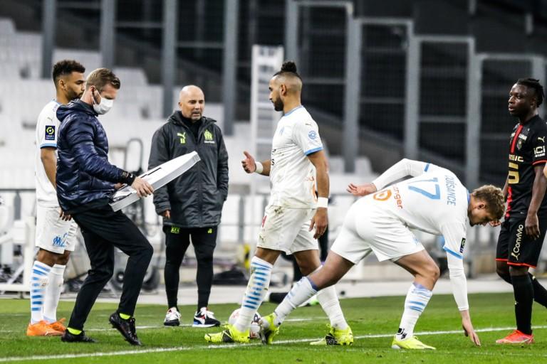 Dimitri Payet et le coach de l'OM, Jorge Sampaoli.