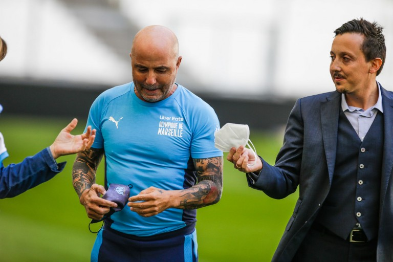Jorge Sampaoli, nouveau coach de l'OM, et Pablo Longoria.