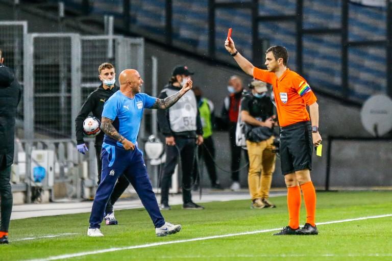 Jorge Sampaoli écope d'un carton rouge lors du match OM- Angers SCO.