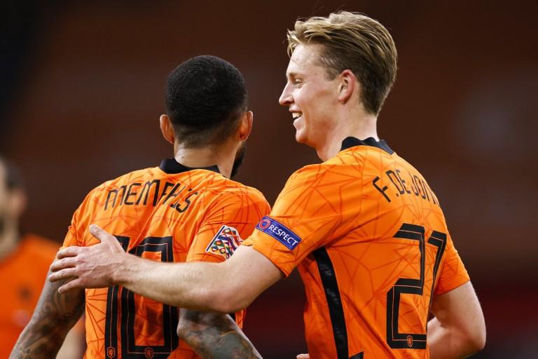 Memphis Depay et Frenkie De Jong sous le maillot néerlandais.