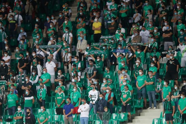 Des supporters de l' ASSE au Stade Geoffroy-Guichard.