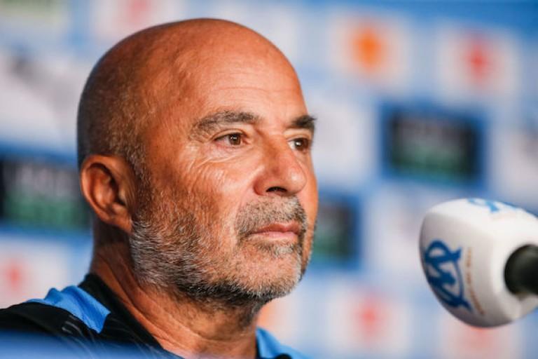 Jorge Sampaoli, l'entraîneur de l' OM, en conférence de presse.