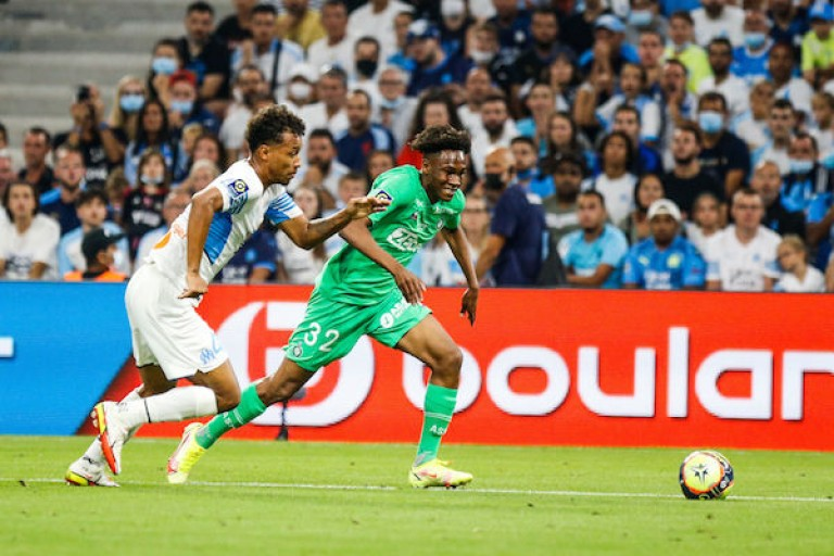 Boubacar Kamara sous le maillot de l' OM.