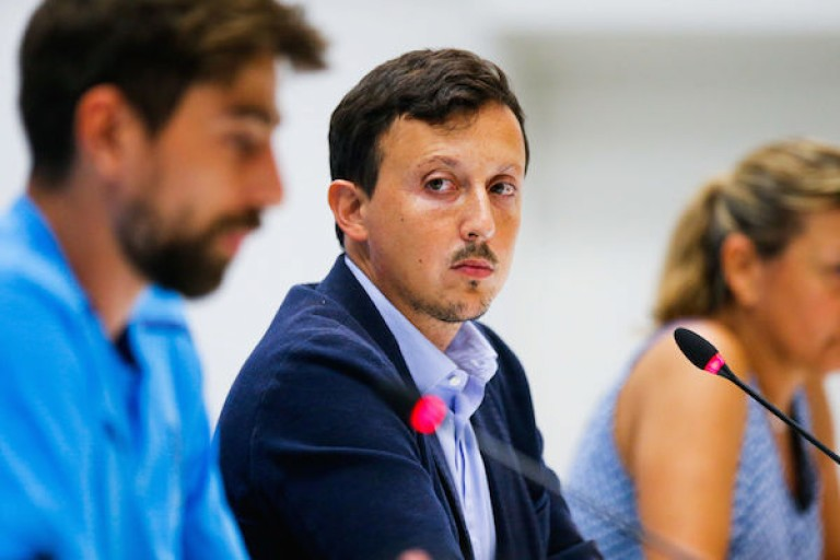 Pablo Longoria, le président de l'OM, en conférence de presse.