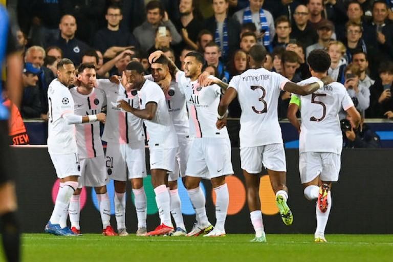 Le groupe du PSG face au FC Bruges.