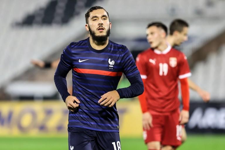 Rayan Cherki, attaquant de l'OL et des Espoirs de France.